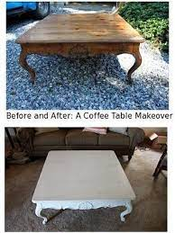wash painting a coffee table makeover