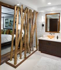 room divider furniture. Natural Bamboo Room Divider In An Eclectic Open Plan Bedroom And En Suite | NONAGON. Furniture