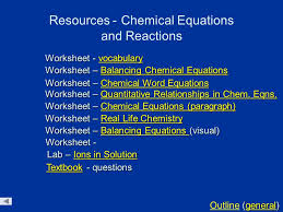 keys chemical equations and reactions general outline general outline worksheet