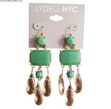 brand quality fashion lydell nyc jeweled and crystal chandelier earrings jade green