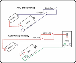 "do it yourself relay for aug popular airsoft i know that this is an incorrect schematic diagram on a technical persons point of view but i just tried to simplify it as to ""what wire goes where"""