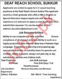 Deaf Reach School Sukkur Teaching Jobs 2018 2019 Deaf Reach
