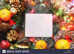 Blank Christmas Background Christmas Background Blank Paper And Decoration With Garland Stock