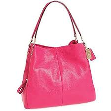 Coach Leather Madison Phoebe Shoulder Bag in Pink Ruby