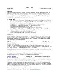 aspnet mvc resume aspnet mvc experience resume