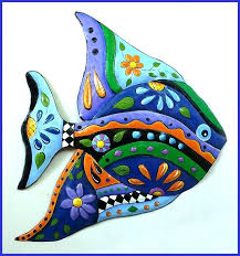 fish wall decor painted metal whimsical fish art design blue tropical fish wall hanging funky art fish wall decor metal  on whimsical metal fish wall art with fish wall decor wall art ideas large wooden fish wall decor