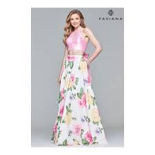 Long Printed Two-Piece <b>Chiffon</b> Evening Dress With <b>Bow Tie</b> Back ...