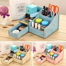 deli 9117 diy wooden pencil holder color multi function desk cleaner cute family organized items easy