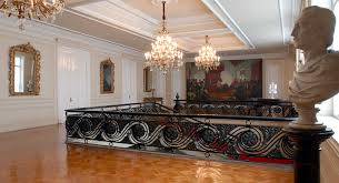 Staircase to one of the halls leading to rooms, which hosts important  meetings and major