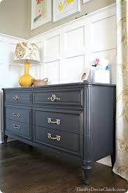 grey painted furnitureBlack and brass from Thrifty Decor Chick