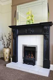 chalk paint stone fireplace white quartz veneer mantel with wood home decor black marble hearth tile