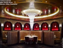 aria carbone main dining room with murano crystal chandelier