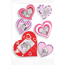 decorative self adhesive heart shaped photo frames set of 6