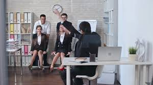 funny office chairs. Young Businessmen Pushing Office Chairs With Their Female Colleagues Sitting On Them And Shouting While Having Funny Game At Work Stock Video Footage - Z