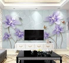 3d Paars Bloem Vlinder Behang Voor Woonkamer Slaapkamer Wallpapers