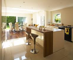 Modern Kitchen Island With Breakfast Bar Be Equipped With Brown Textured  Wood Floor Also Grey ...