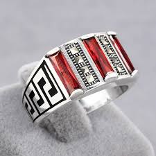 3-lines Red <b>Zircon</b> And Marcasite Stone <b>925 Sterling</b> Silver | Rings ...
