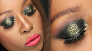 new years eve party makeup tutorial 2016 nye gold glitter smokey eye dark skin you