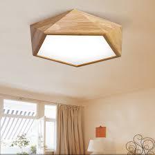 wood ceiling lighting. Fine Lighting LEXA Geometric LED Ceiling Light In Wood 42cm With Safety Mark Driver On Lighting