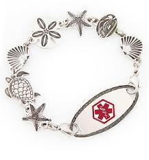 sea life al alert bracelet for women with oval border