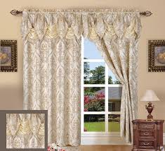com elegant comfort penelopie jacquard look curtain panel set 54 by 84 inch beige set of 2 home kitchen