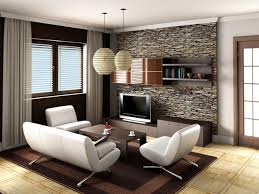 modern furniture design living room inspiring. modern living room design with stone wall behind tv on the wooden vanity also dark table and white leather sofa lampion lighting above furniture inspiring t