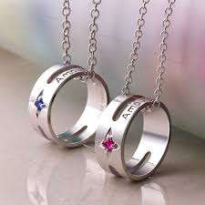 coise couple necklaces amour engraved circle pendants set for women and men sterling silver