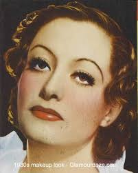 1930s red lips drawn naturally heavy powder lower blush eyshadow blended up to brows