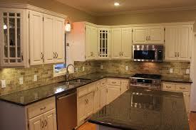 black and white kitchen backsplash ideas. Black Granite Countertops With Tile Backsplash And White Cabinet Kitchen Ideas E