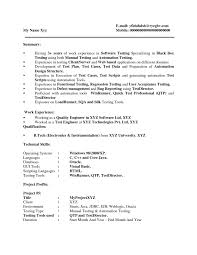 Two Years Experience Resume Sample Gui Tester Cover Letter Gui Testing Resume 24 Qtp Test Engineer 20