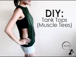 how to cut t shirts into cute tank tops with big dropping arm holes diy easy muscle tee