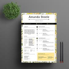 Yellow Floral Resume Template Cv Template Resume Template N By