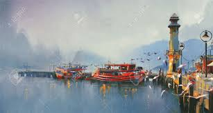 fishing boat in harbor at morning watercolor painting style stock photo 43647006