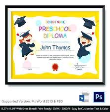 Prek Diploma Preschool Graduation Certificate Template 4 Free Printablepreschool