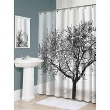 black white red shower curtain. black tree shower curtain white red