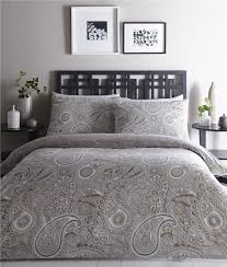 king size duvet set quilt cover ethnic paisley grey taupe reversible bedding