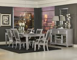 sensational silver finish dining table with dark grey gray chairs furniture set 1 of 1only 1 available