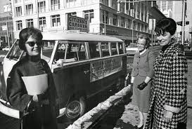 Duane Howell/The Denver Post via Getty Images. Women Voters League  Officials offer rides to voters in 1965.