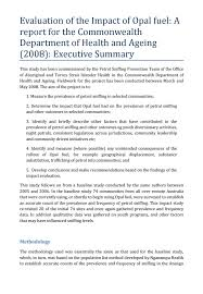 executive summary format for project report evaluation of the impact of opal fuel executive summary