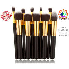 kabuki 10pcs black make up brush set black gold