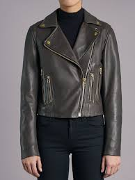 harrier grey leather biker jacket
