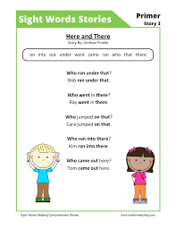 Stories Worksheets Sight Words Stories 7 Reading Comprehension ...