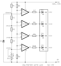electronic circuits projects and circuit diagrams indicator car battery voltmeter led indicator