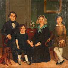 this antique danish oil painting of a family portrait circa 1820 1840 has