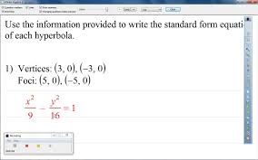 use the information provided to write the standard form equation hyperbola