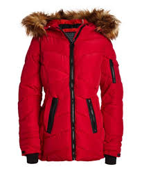 Steve Madden Red Natural Faux Fur Quilted Puffer Coat Women Plus