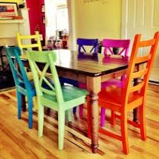bright coloured furniture. rustoleum spraypainted chairs these remind me of all the colored benches at bright coloured furniture
