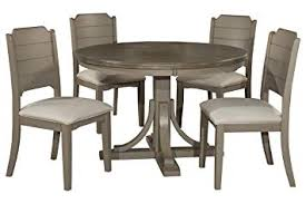image unavailable image not available for color hilale furniture 4541dtb5c2 hilale clarion round side chairs distressed gray 5 piece dining set