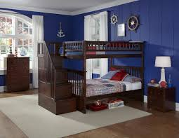 twin over full bunk bed with stairs. Twin Over Full Bunk Beds Stairs Brown Varnished Mahogany Bed Light Blue Sporty Fur Rug With