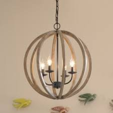 wooden chandelier lighting. Phenomenal Chandelier In Industrial Style. Round Shade Is Made Of Wood And Mounted On Metal Wooden Lighting